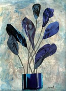 Flowers Mixed Media Posters - Dark Blue Poster by Sarah Loft