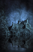 Creepy Digital Art Posters - Dark Castle Poster by Svetlana Sewell