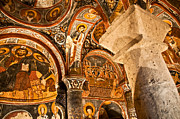 Dark Cave Church Byzantine Frescoes Print by Denise Lett