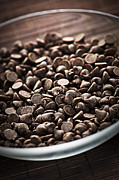 Pieces Posters - Dark chocolate chips Poster by Elena Elisseeva