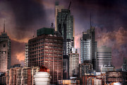 City Buildings Framed Prints - Dark City Framed Print by Mark Richards