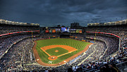 Yankee Stadium Posters - Dark Clouds over Yankee Stadium  Poster by Shawn Everhart