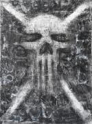 Grunge Skull Paintings - Dark Departure by Roseanne Jones