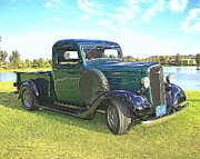 Chevrolet Pickup Truck Posters - Dark Green 1936 Chevy Pickup Poster by Randall Thomas Stone