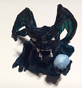 Ball Sculpture Prints - Dark Green Gargoyle Print by Demian Legg