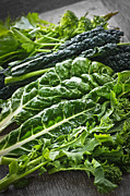 Salad Photo Posters - Dark green leafy vegetables Poster by Elena Elisseeva