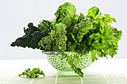 Vitamin Photos - Dark green leafy vegetables in colander by Elena Elisseeva