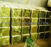 Onyx Blocks Glass Art - Dark Green Onyx Tiles by Hanam Marble Industries