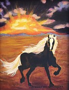 Suzanne  Marie Leclair - Dark Horse at Sunset