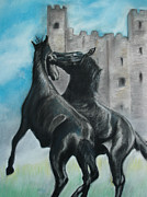 Horses Pastels Prints - Dark Horses Print by Ryan Seate