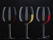 Wine Glasses Paintings - Dark Light Medium by Kayleigh Semeniuk