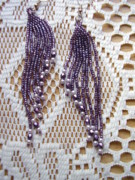 Dark Jewelry - Dark Mauve Beaded Earrings by Yvette Pichette