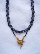 Beadwork Jewelry - Dark Metallic Blue Choker With A Fairy Charm by Yvette Pichette