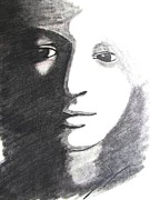 Face Prints Drawings - Dark n Dawn by Sunil Jangir