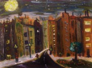 Night Lamp Paintings - Dark Night-Golden Moon by Mary Carol Williams