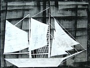 Sailing Ship Mixed Media Prints - Dark Night Print by Rhiana Lynn
