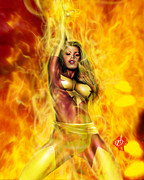 Comic Book Drawings Posters - Dark Phoenix Poster by Pete Tapang