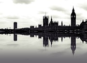 London Skyline Digital Art Prints - Dark Reflections Print by Sharon Lisa Clarke
