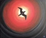 Flying Seagull Painting Originals - Dark Seagull by Melina Mel P