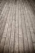 Wood Plank Flooring Prints - Dark Ship Deck used for Background Print by Brandon Bourdages