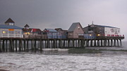 Oob Photos - Dark skys at the Pier Old Orchard Beach Maine by Martin Rogers