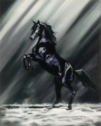 Horse Pastels Posters - Dark Splendor Poster by Kim McElroy