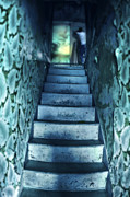 Nightmare Man Prints - Dark Staircase with Man at Top Print by Jill Battaglia