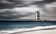 Arab Framed Prints - Dark storm windy landscape of Dubai beach Framed Print by Anna Omelchenko