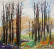 Bare Trees Pastels Prints - Dark trees Before Light Print by John  Williams
