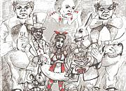 Mad Hatter Drawings - Dark Wonderland by Earl Johnson