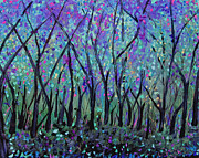 Tree Blossoms Paintings - Dark Woodland by Suzeee Creates
