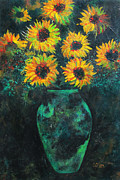 Yellow Flowers Painting Prints - Darkened Sun Print by Carrie Jackson