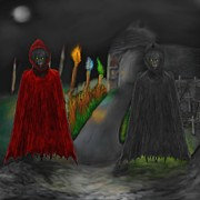 Walkway Digital Art Originals - Darkness and Demonic Entities by Jake Updegrove