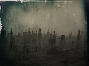 Tombstones Prints - Darkness Begins Print by Gothicolors And Crows