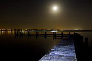Darkness On The Bradenton Bay Print by Nicholas Evans