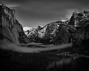 North Dome Posters - Darkness on Yosemite Valley Poster by Troy Montemayor
