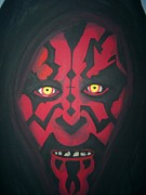 Television Paintings - Darkside of Darth Maul  by Jill Christensen
