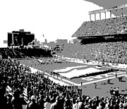 Memorial Stadium Art - Darrell K Royal Texas Memorial Stadium BW3 by Scott Kelley