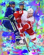 Hockey Painting Prints - Darren Helm Print by Donald Pavlica