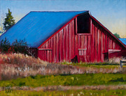 Barn Paintings - Darst Barn on West Beach Road by Stacey Neumiller
