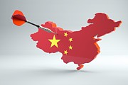 White Background Digital Art - Dart Arrow In A Shape And Ensign Of China by Dieter Spannknebel