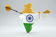Cartography Digital Art Prints - Dart Arrow In A Shape And Ensign Of India Print by Dieter Spannknebel