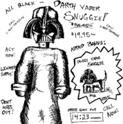 Funny Dog Drawings - Darth Vader Snuggie BW by Jera Sky