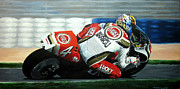 Suzuki Paintings - Daryl Beattie - Suzuki MotoGP by Jeff Taylor