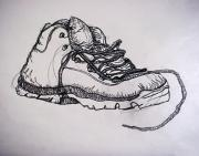 Shoes Drawings Prints - Das Boot Print by Ross Powell
