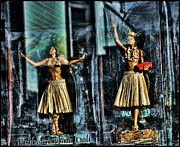 Grass Skirts Posters - Dashboard Hula Dolls Poster by Curtis Staiger