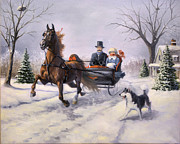 Saddlebred Posters - Dashing Through the Snow  II Poster by Jeanne Newton Schoborg