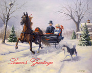 Christmas Cards Framed Prints - Dashing Through The Snow Framed Print by Jeanne Newton Schoborg