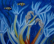 Anemones Paintings - Date Night on the Reef by Julie Brugh Riffey