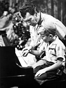 Jazz Pianist Photos - Dave Brubeck And Teaching His Son by Everett